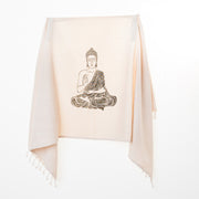 Bellaqua 100% Cotton, Buddha printed turkish peshtemal yoga towel, black print over natural fabric