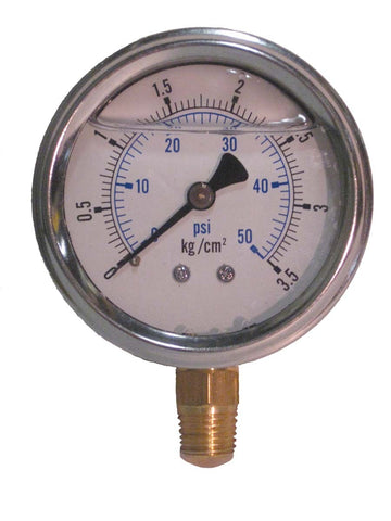 "EasyPro G50L Pressure Gauge 0-50 PSI Liquid Filled 1/4"" MPT"