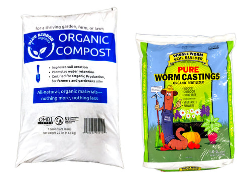 Wiggle Worm Castings + Blue Ribbon Organic Compost OMRI Combo
