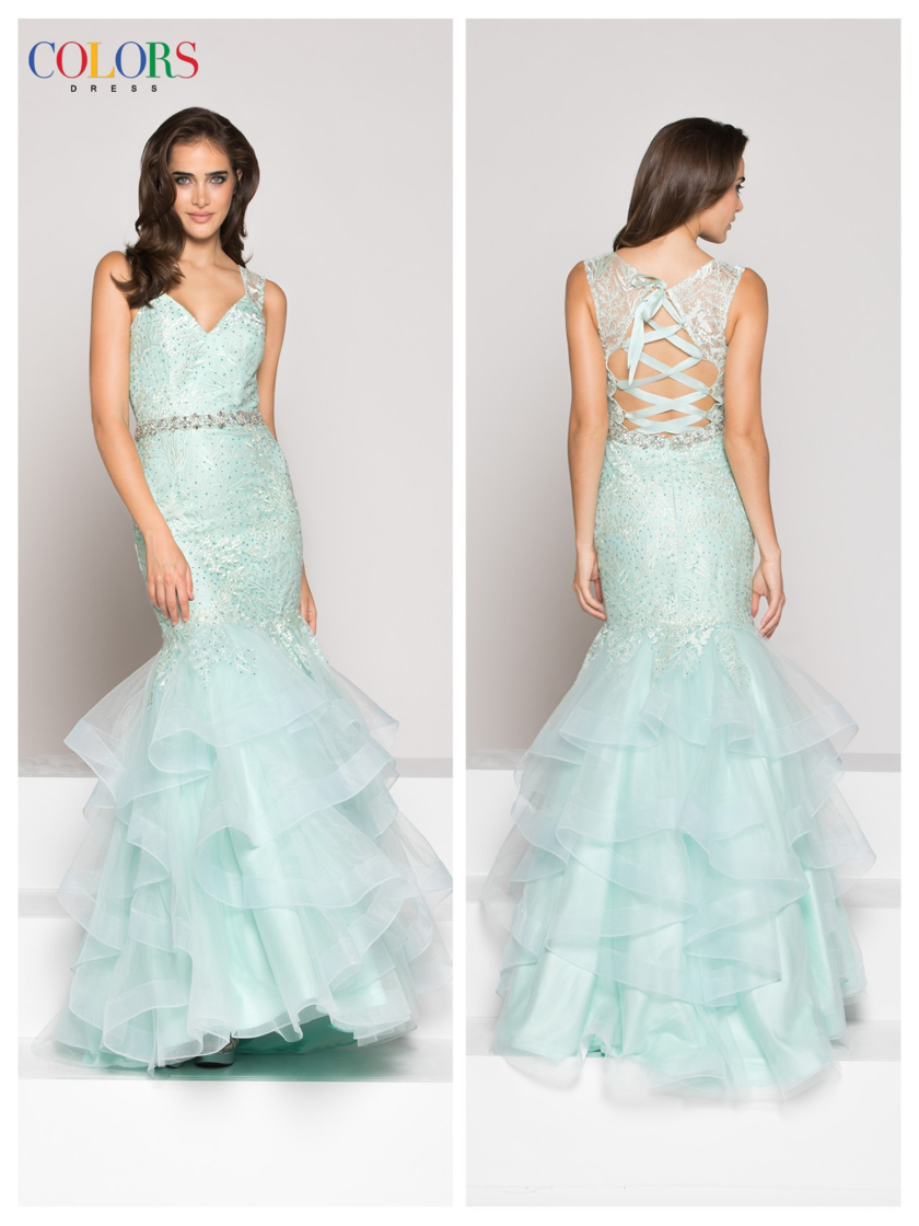 Lace Ruffled Mermaid Dress
