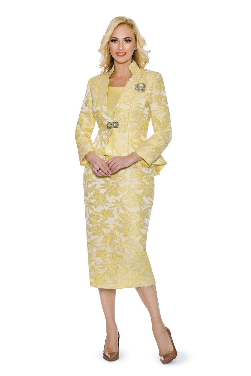 Yellow Brocade Suit G1110