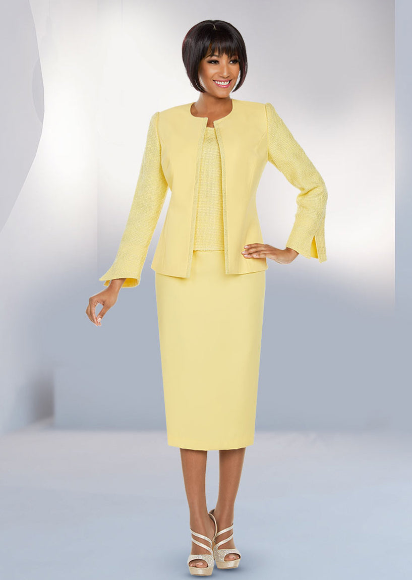 Banana Knit-Textured Skirt Suit 11799