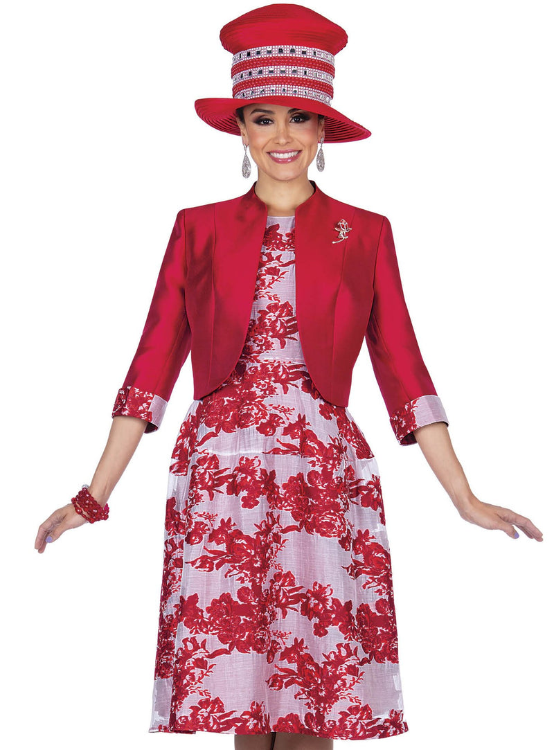 Red Floral Patterned Jacket Dress