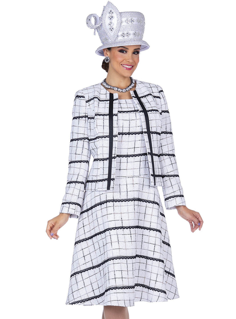 Window-Pane Poly Knit Jacket Dress