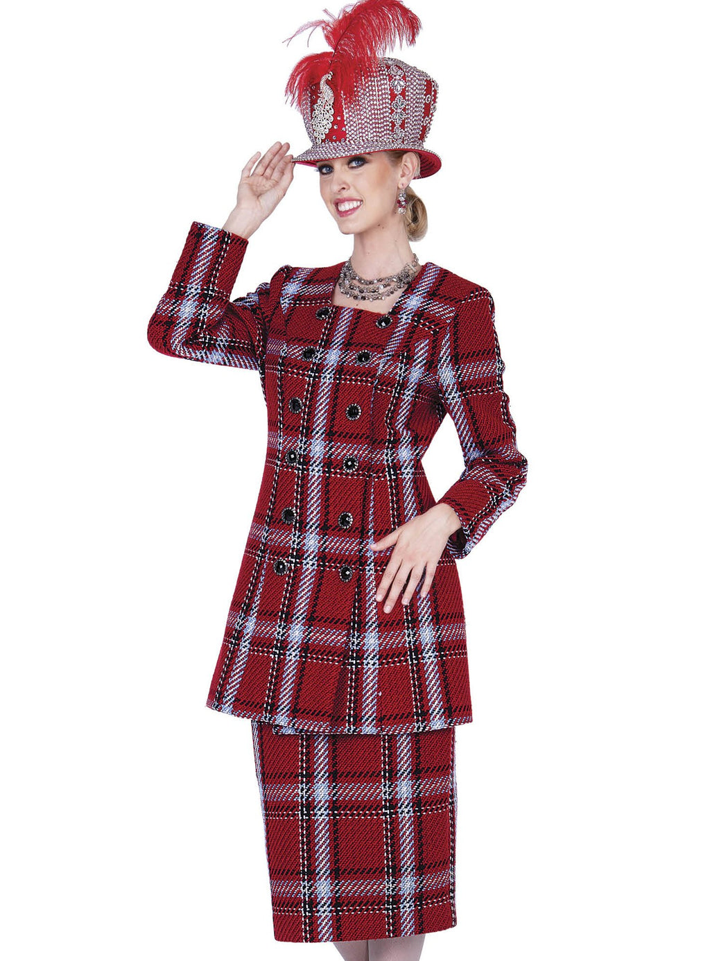 Plaid Poly-Knit Suit