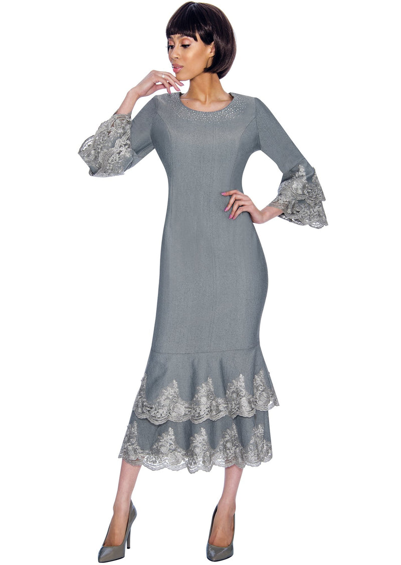Lace Trim Sheath Denim Dress 61951