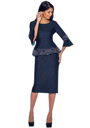Soutache-Trim Denim Suit 61992