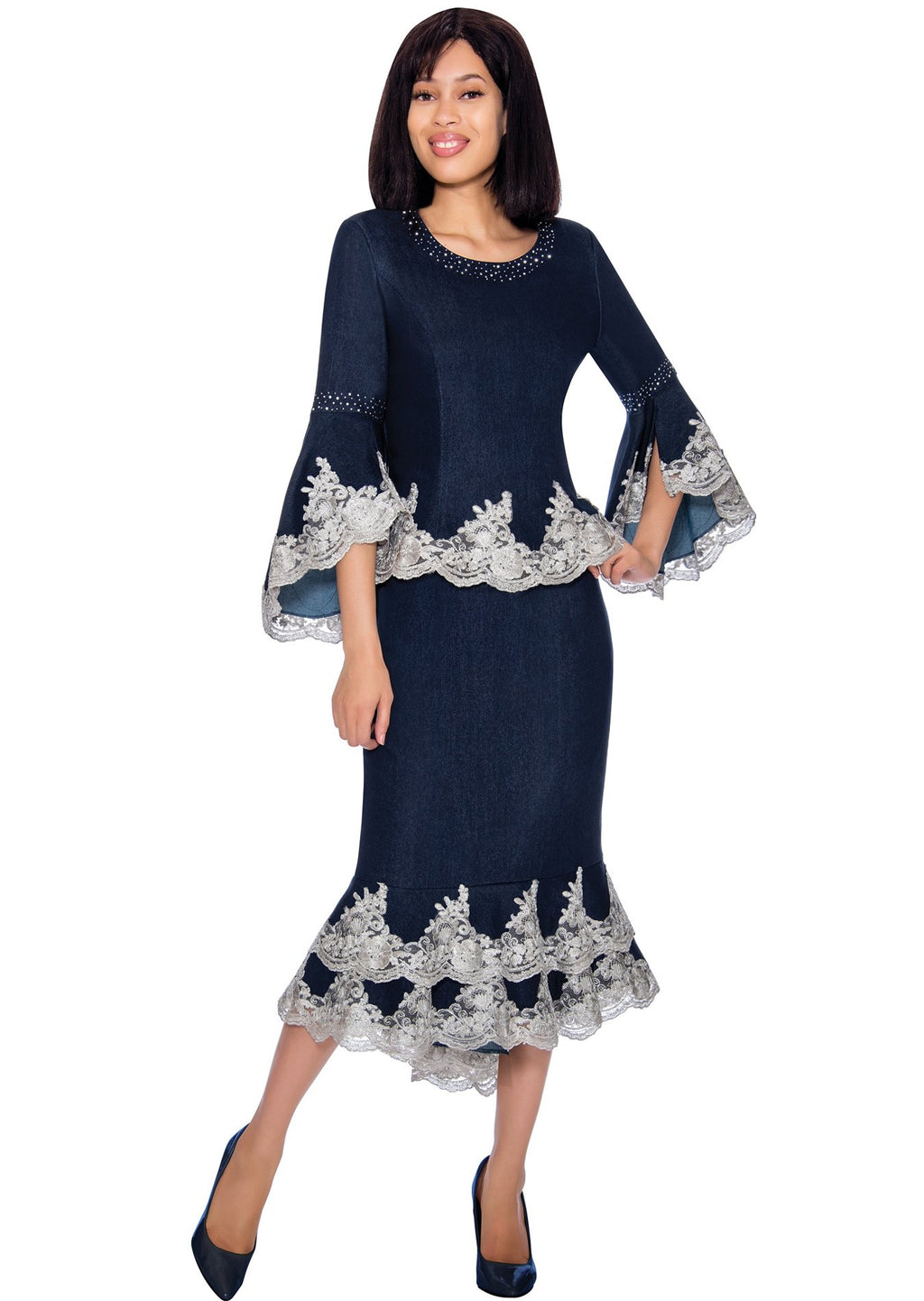 Lace-Trimmed Denim Skirt Set 62032