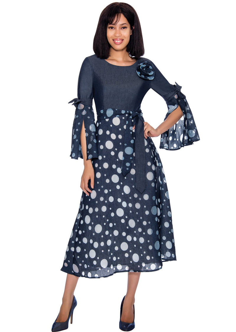 Polka Dot Denim Dress 62041