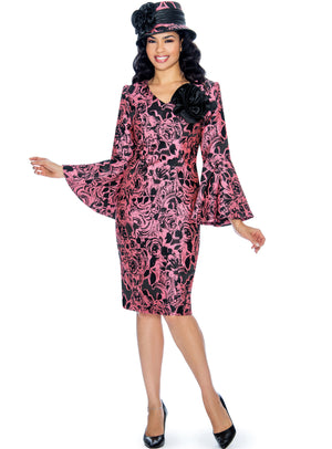 Rose Swirl Bell-Sleeve Sheath Dress