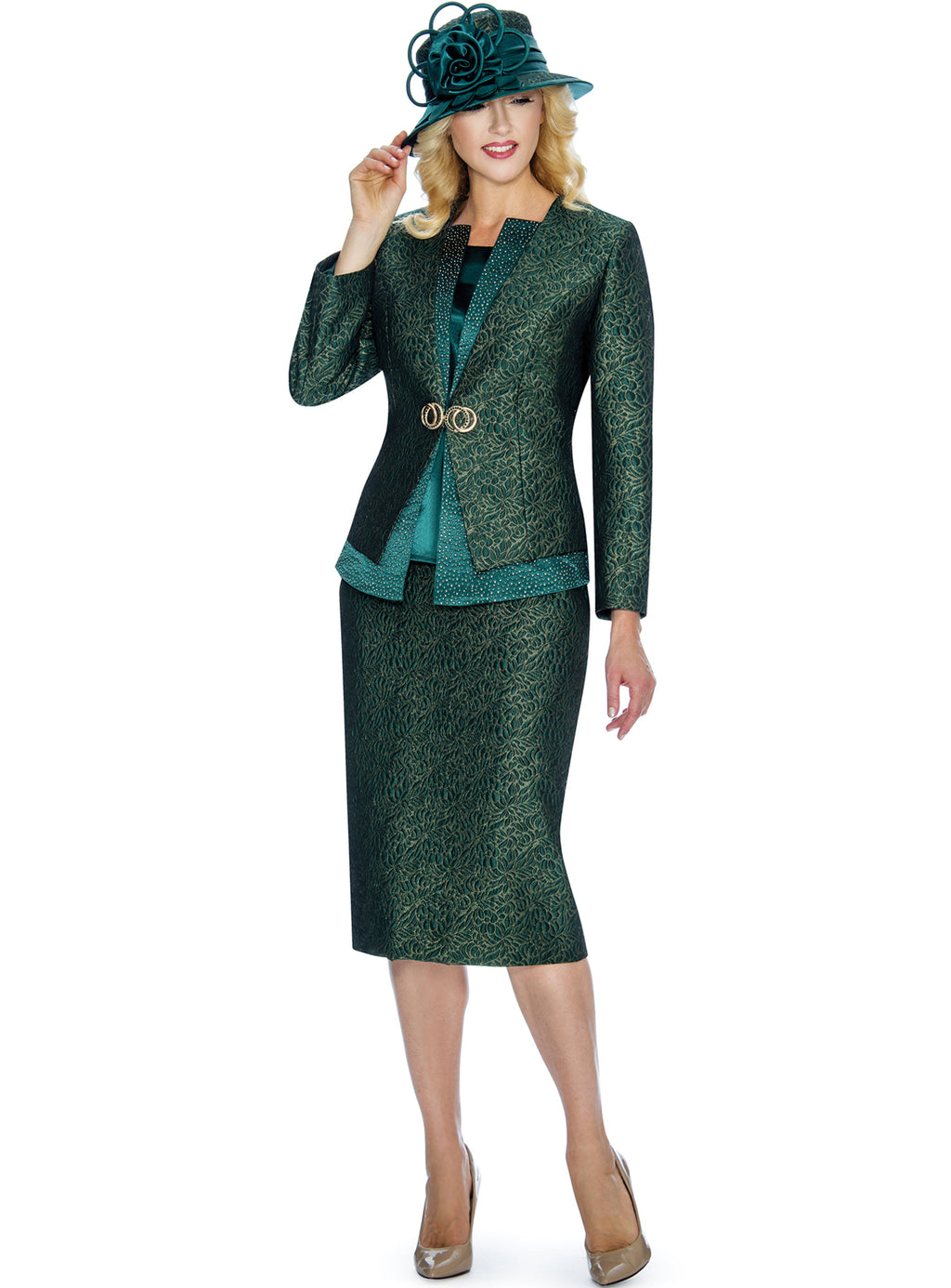 Emerald Floral Brocade Three-Piece Suit 0907