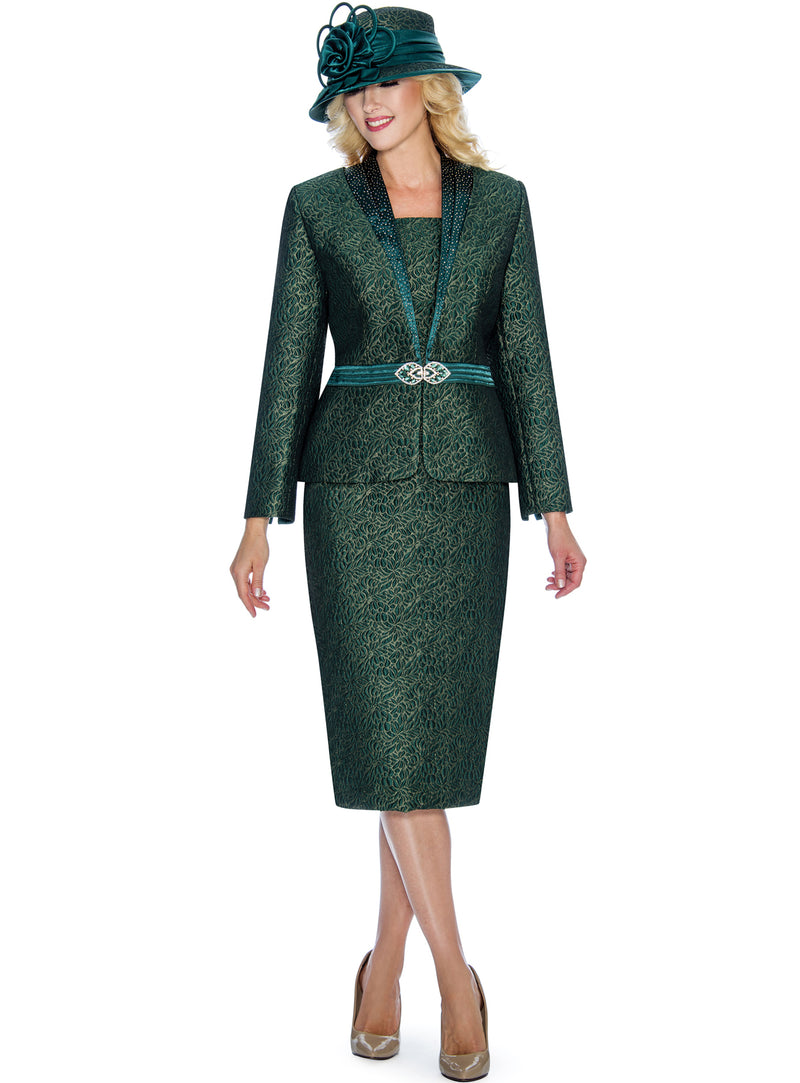 Emerald Floral Brocade Two-Piece Suit