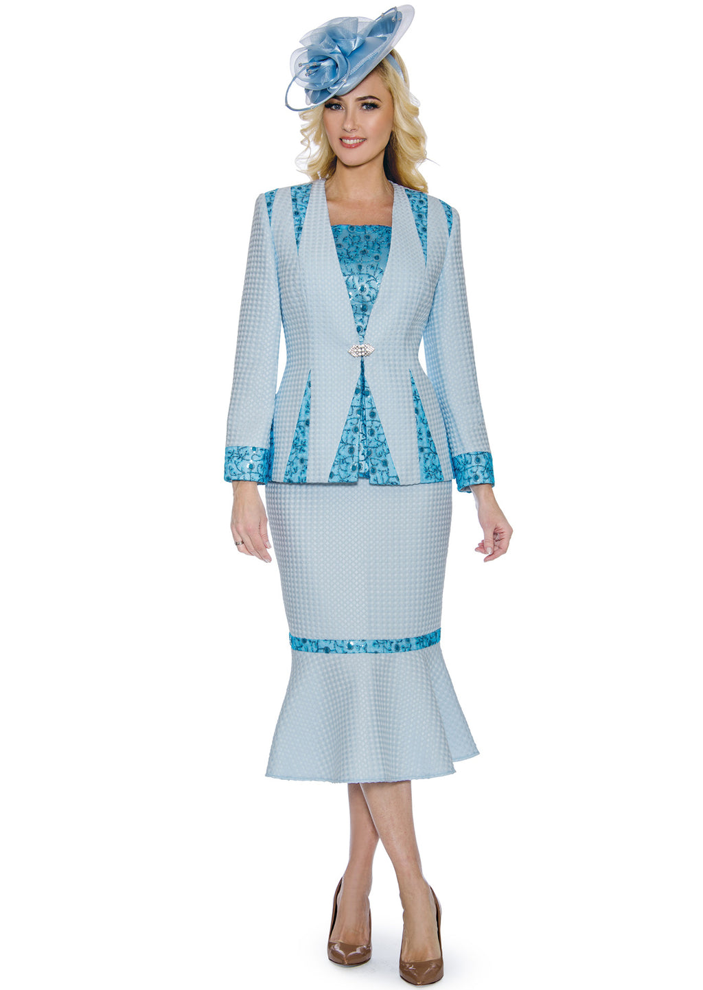 Sequin-Lace Trim Suit 0912