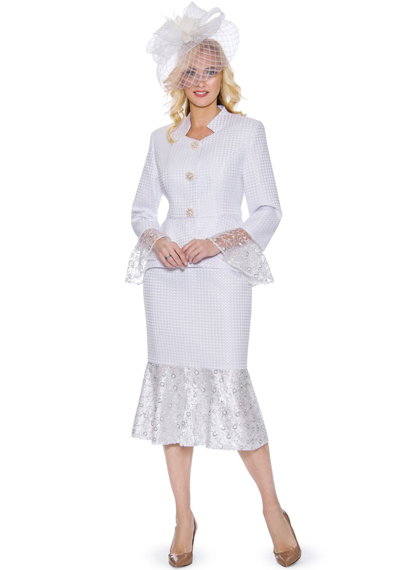 Textured Sequin-Lace Trim Suit 0914