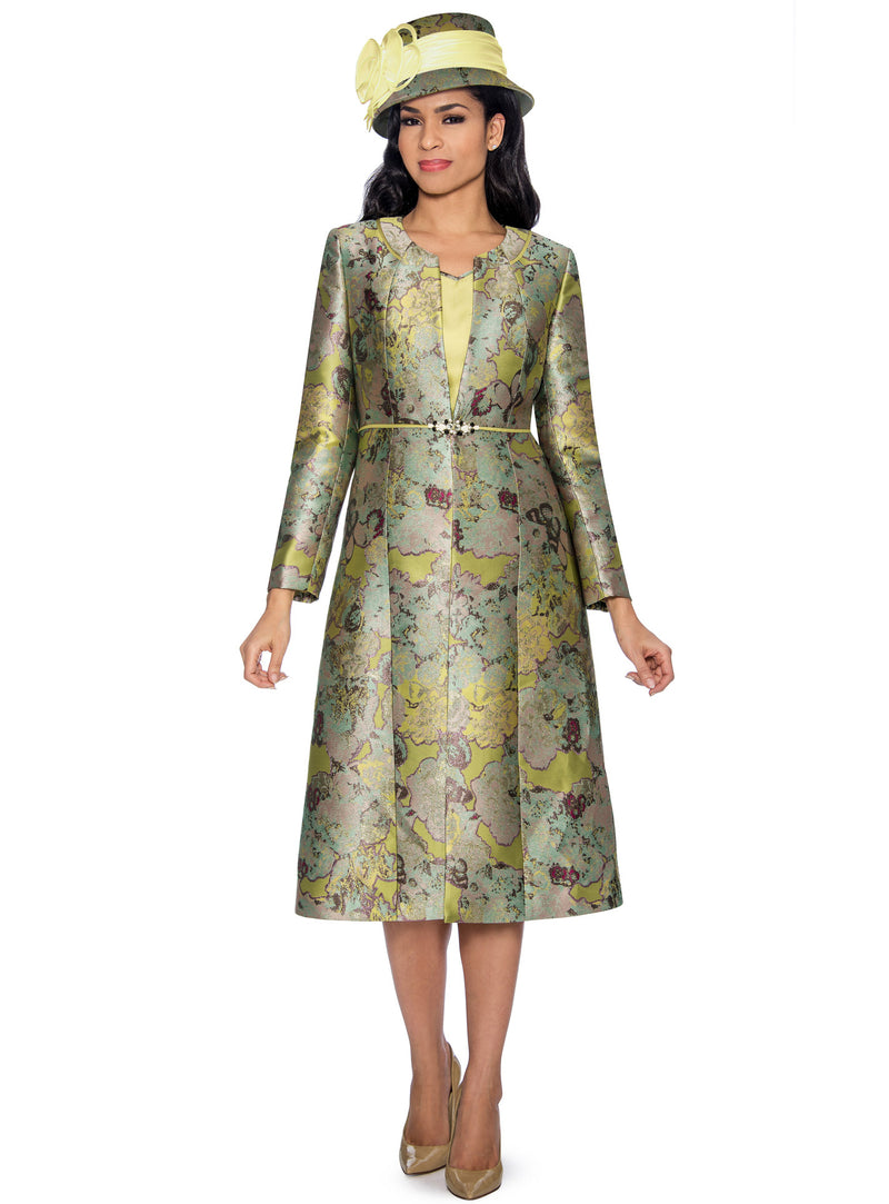 Olive Floral Brocade Coat Dress