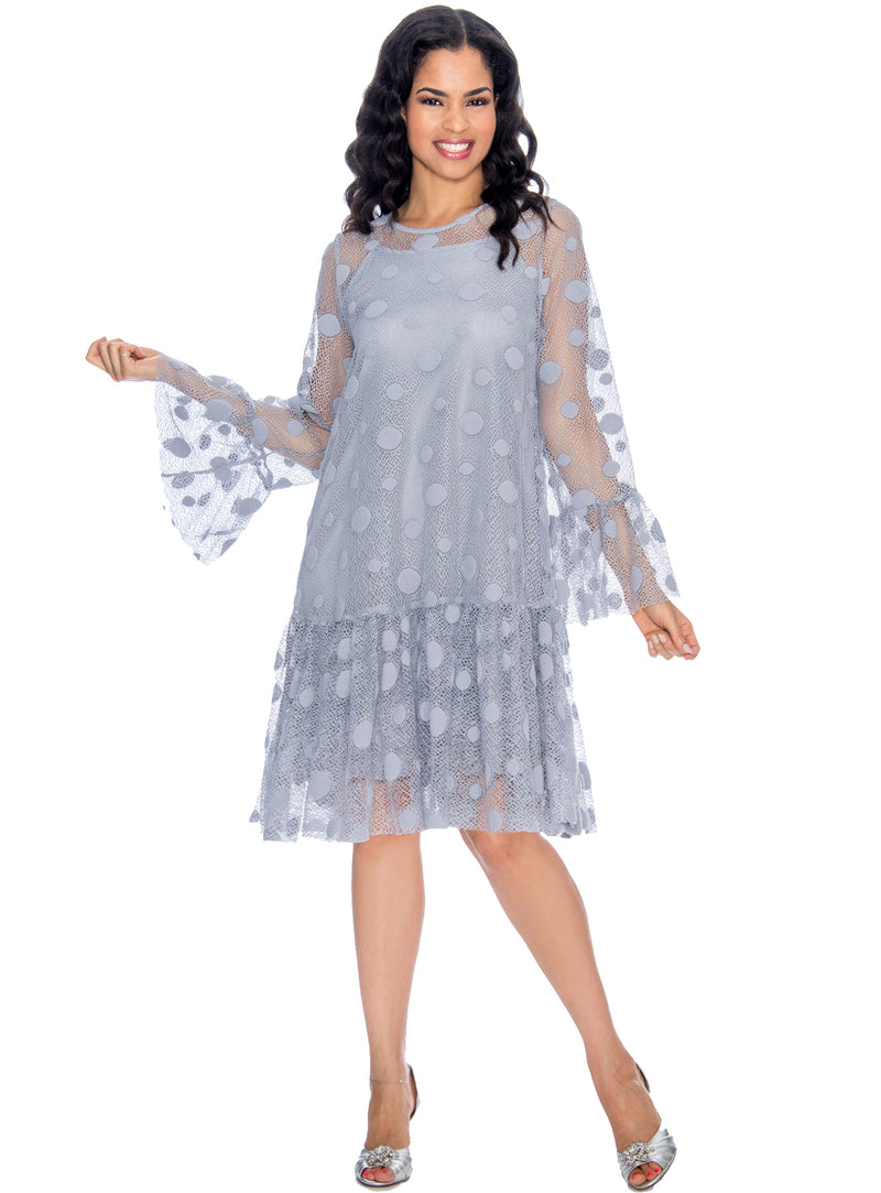 Polka Dot Lace Ruffled Shift Dress