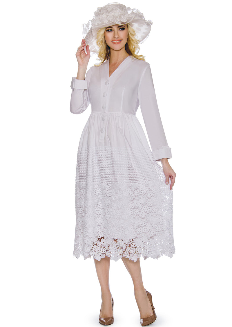 Long-Sleeved Cotton Crochet Dress D1477L