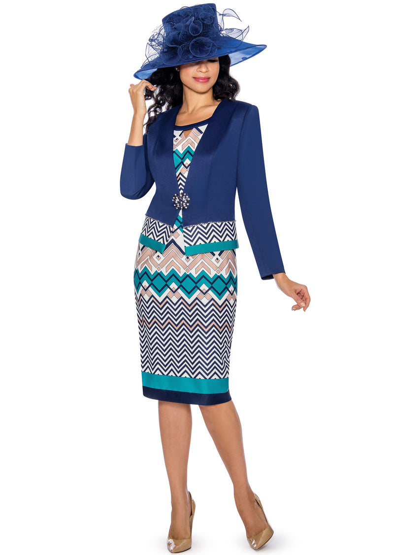 Geometric Print Jacket Dress G1090