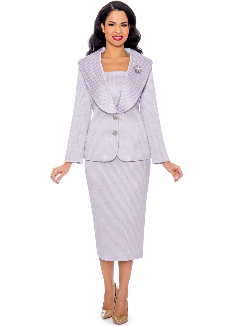 Textured Wide-Collar Suit G1094