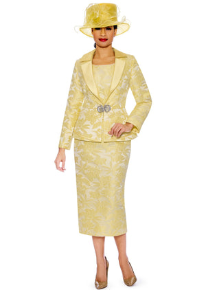 Yellow Brocade Suit G1096