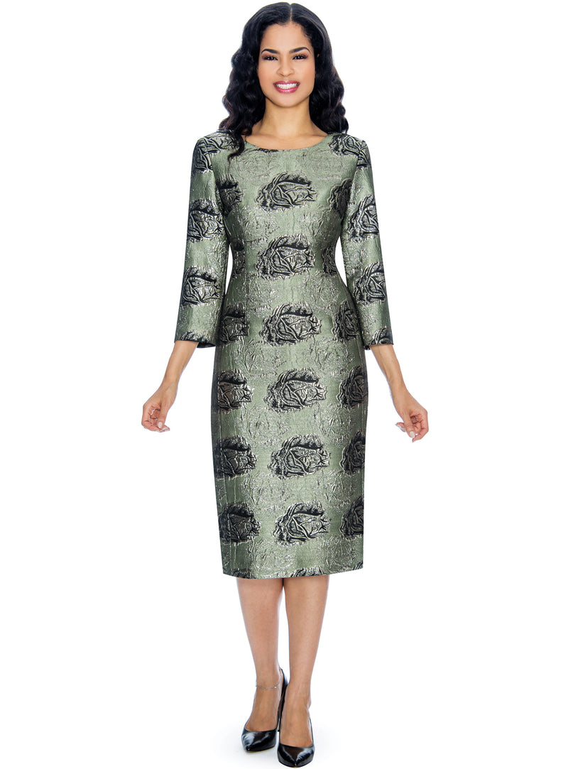 Rose Patterned Brocade Sheath Dress D1506