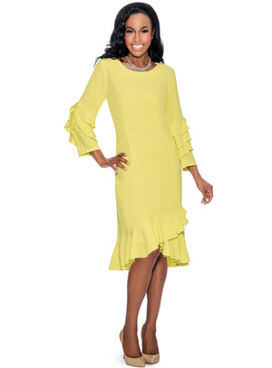 Crepe Ruffle Shift Dress