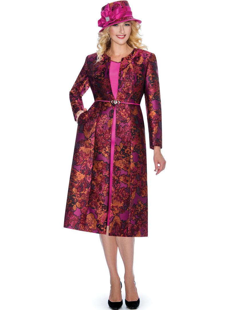 Fuchsia Floral Brocade Coat Dress