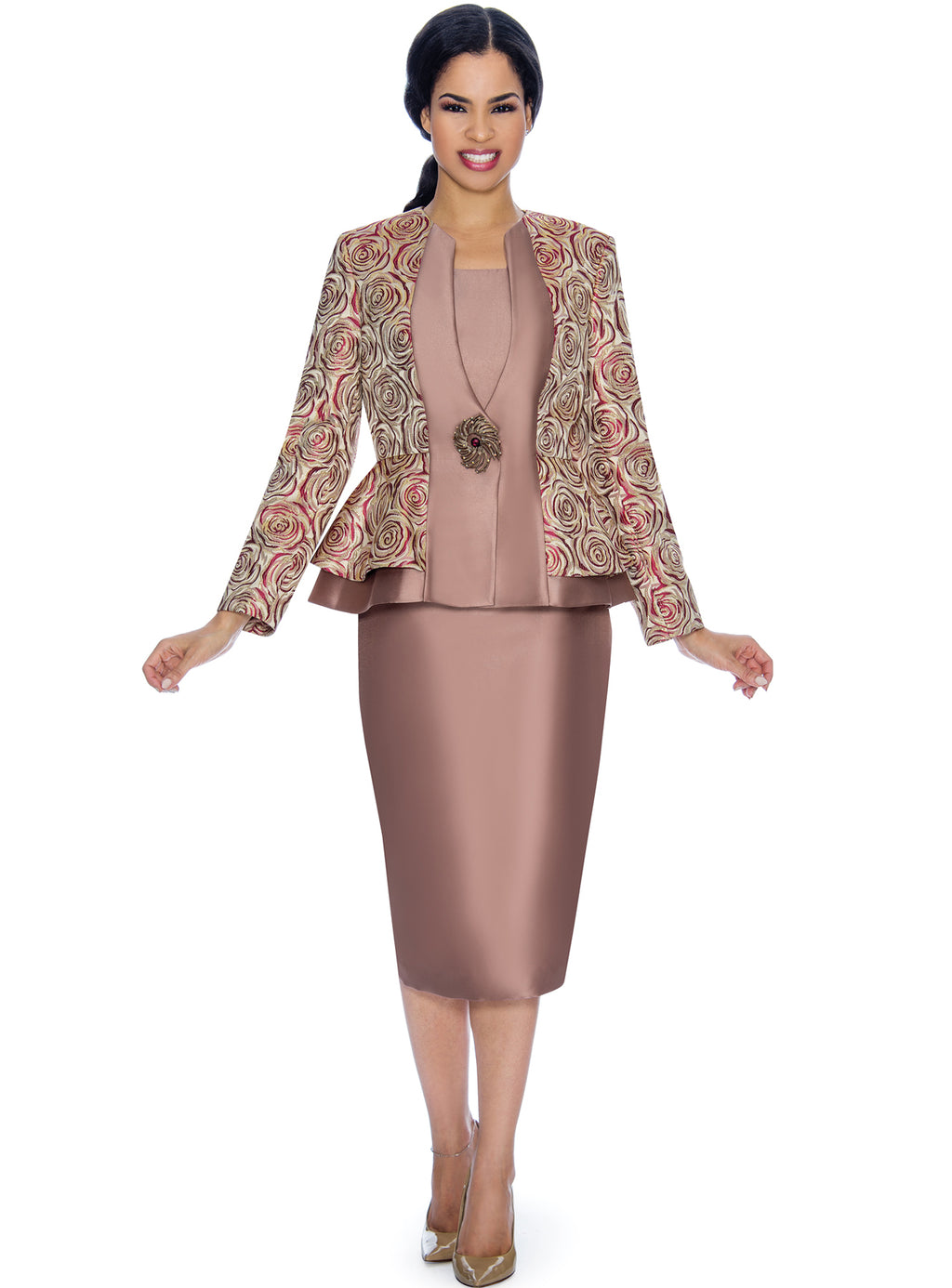 Rose Pattern Brocade Suit
