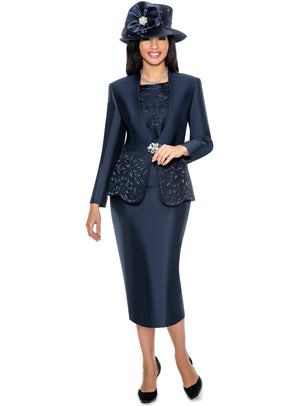 Embroidered Scallop-Hem Suit