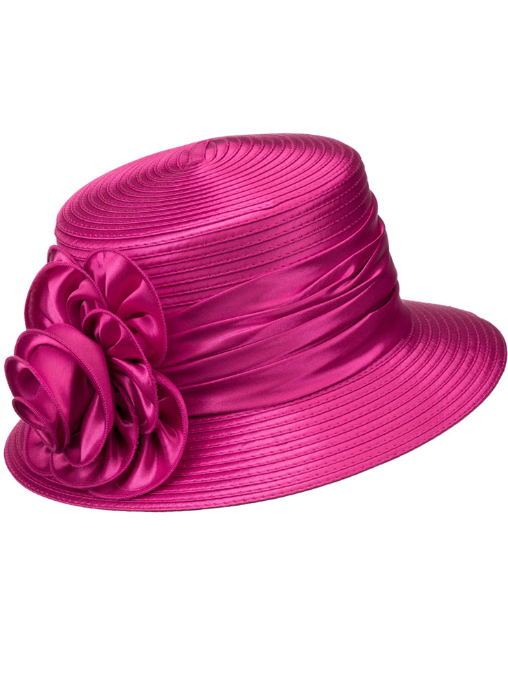 Ribbon + Satin Rosette Hat H0929