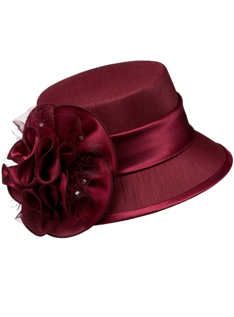 Burgundy Shantung and Rosette Hat
