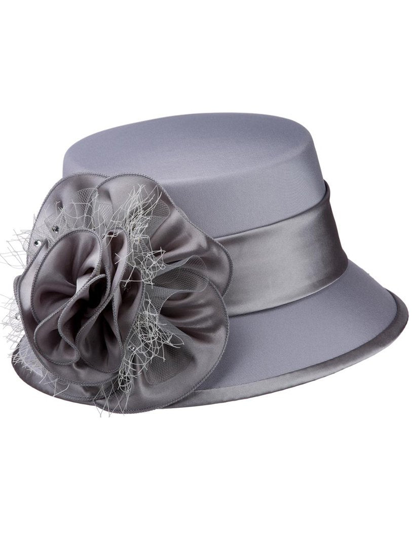 Silver Shantung and Rosette Hat