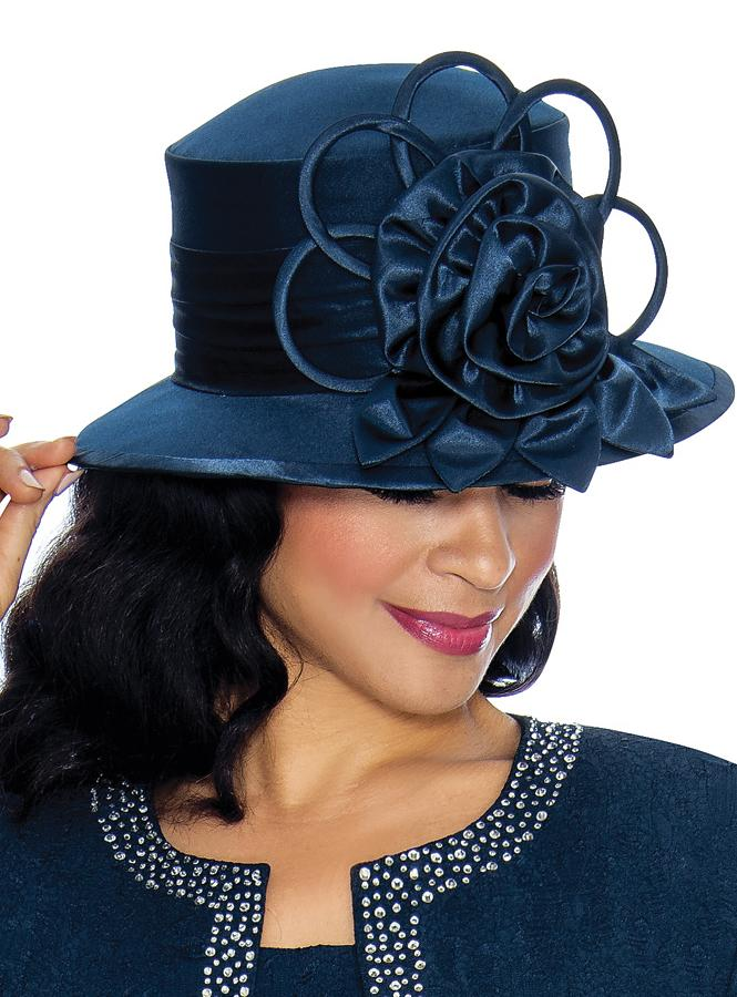 Navy Silk Wool Hat