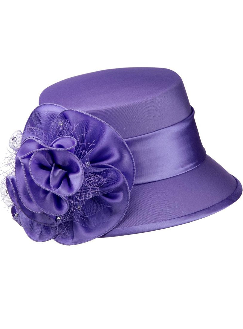 Lavender Shantung and Rosette Hat
