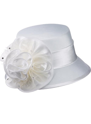 Off-White Shantung and Rosette Hat HG1060