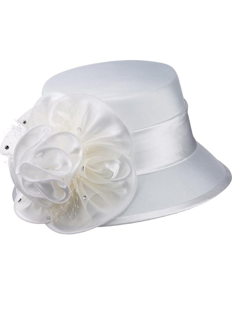 Off-White Shantung and Rosette Hat