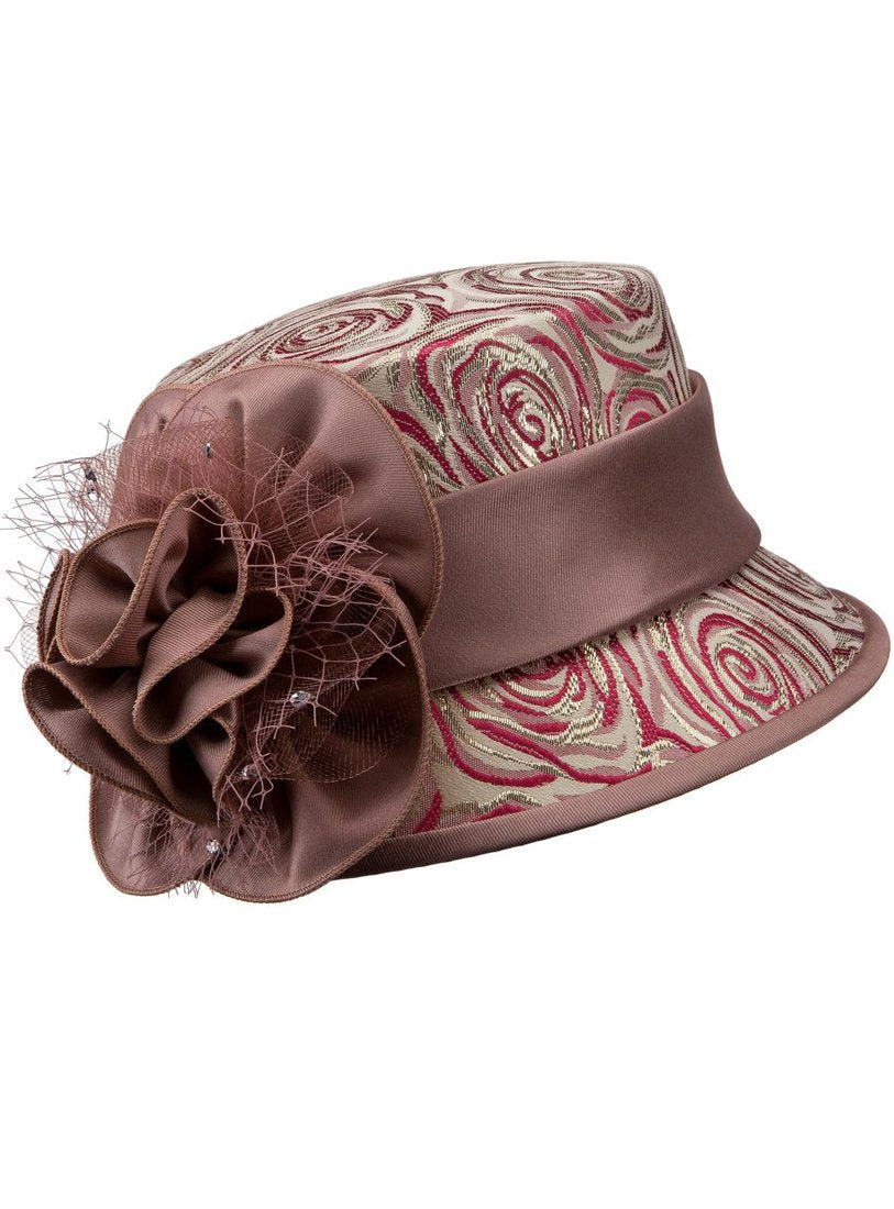 Small Brim Rose Brocade Hat