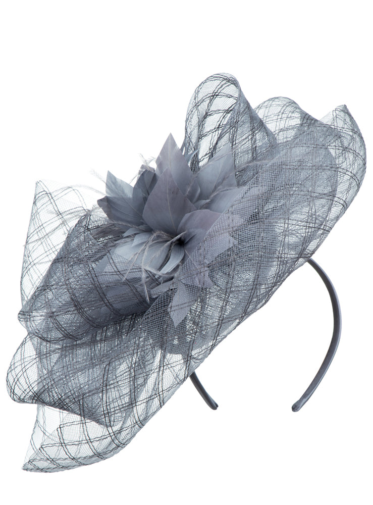 Feather-Flower Mesh Fascinator HM968