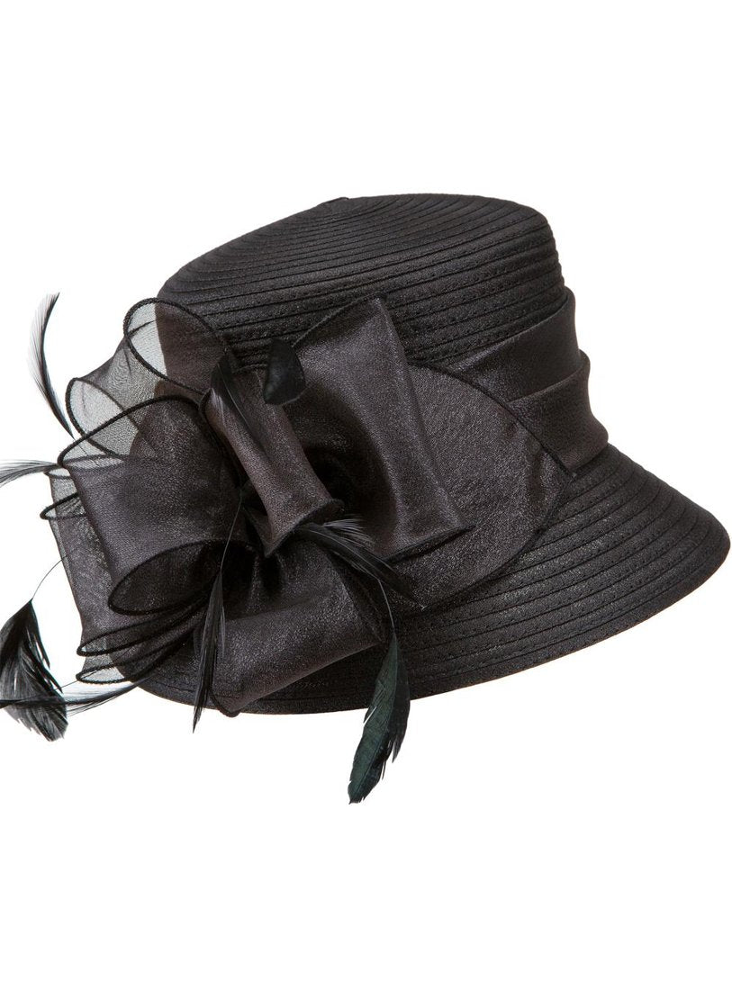 Black Organza-Bow Ribbon Hat