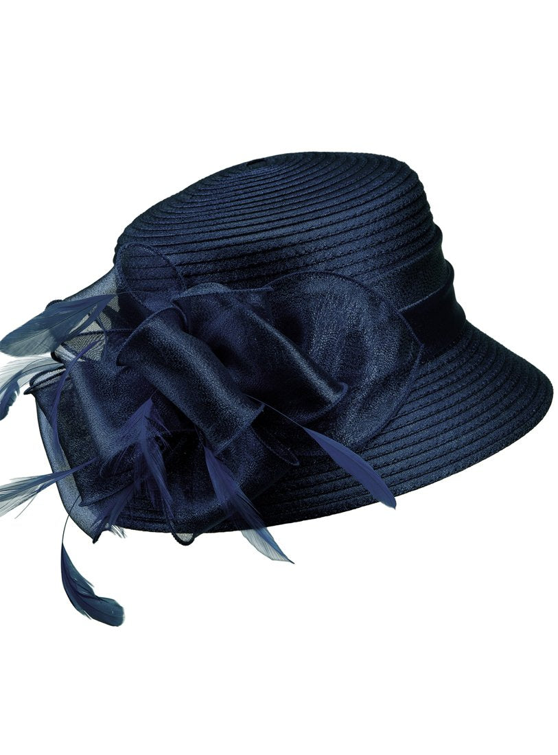 Navy Organza-Bow Ribbon Hat
