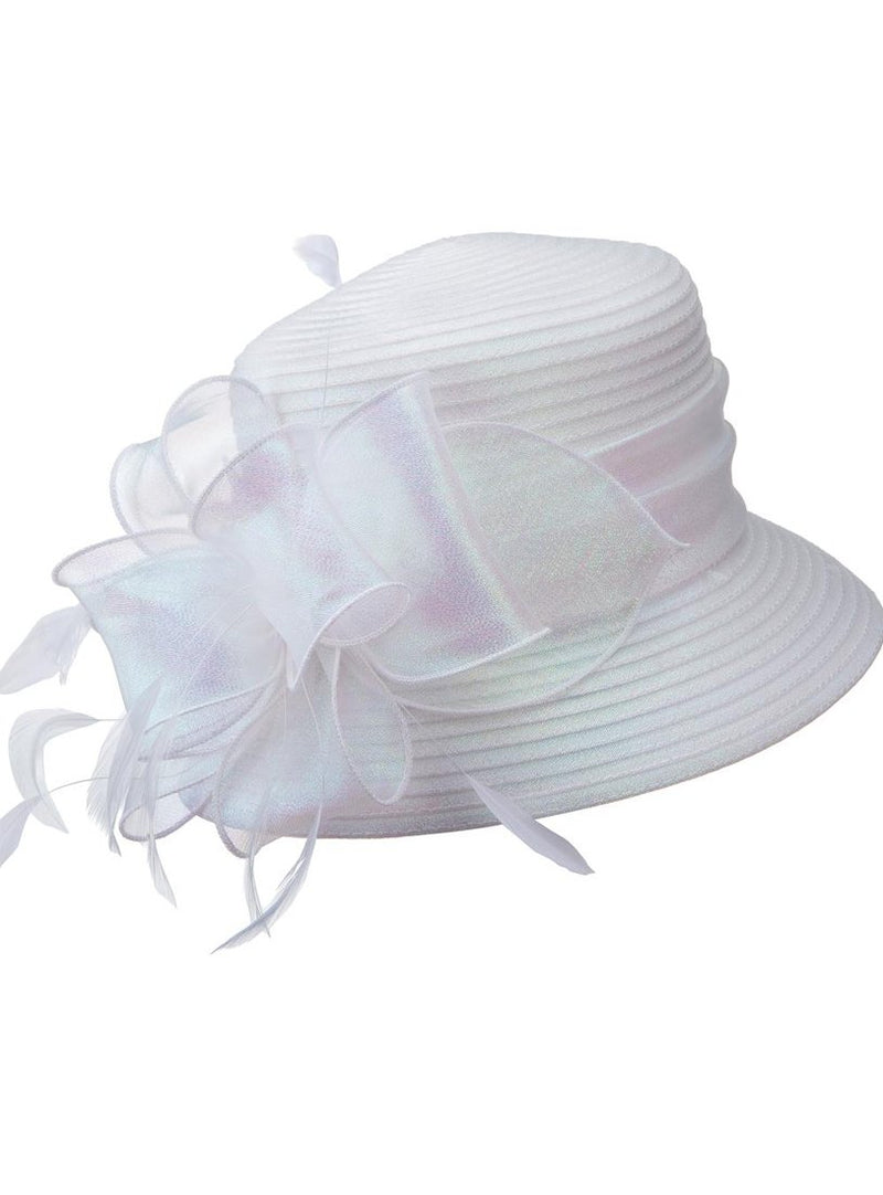 Pearlescent Organza-Bow Ribbon Hat