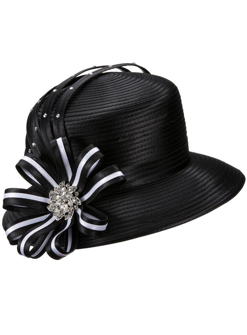 Striped-Bow Ribbon Hat