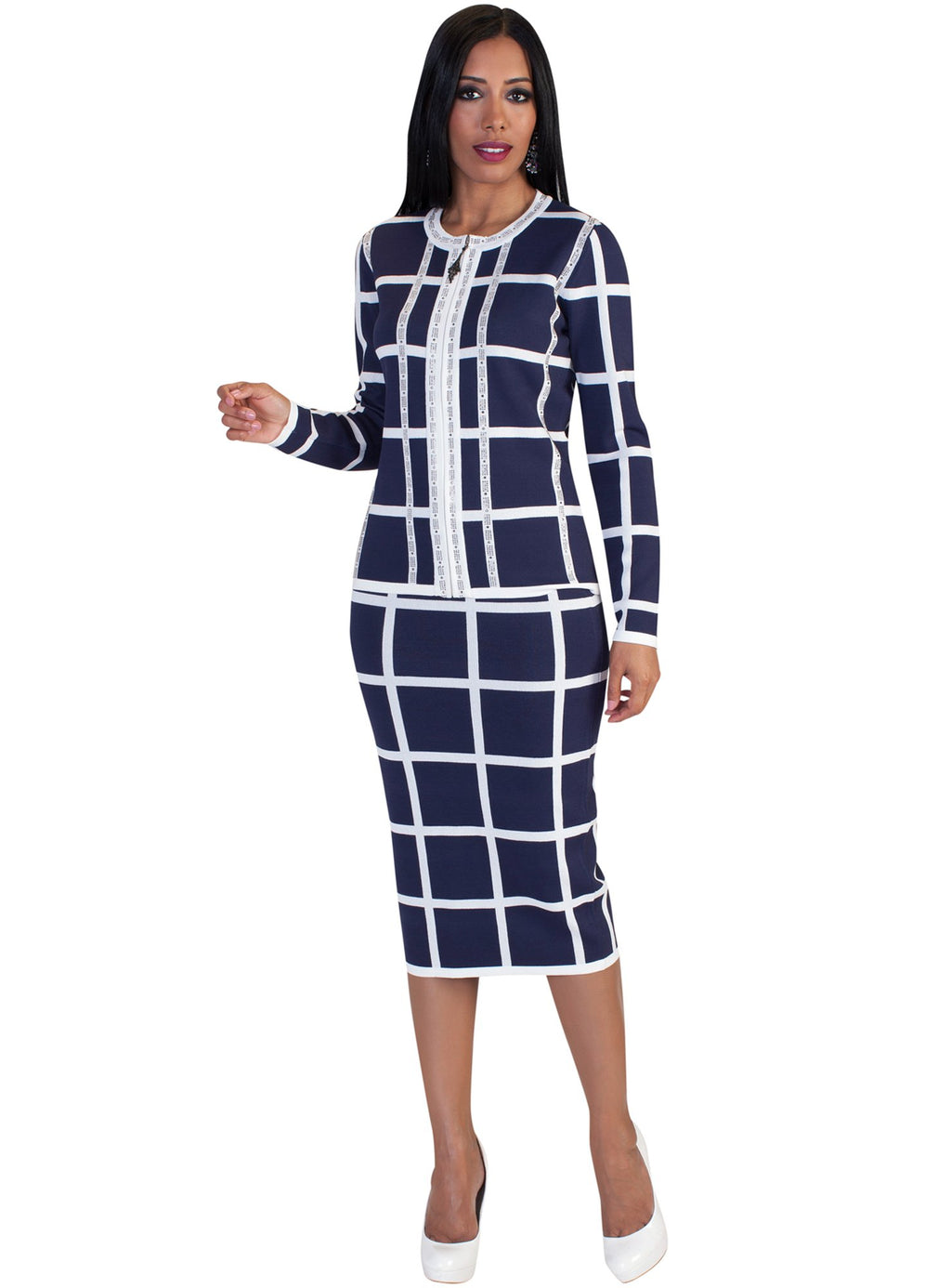 Window Pane Knit Skirt Suit