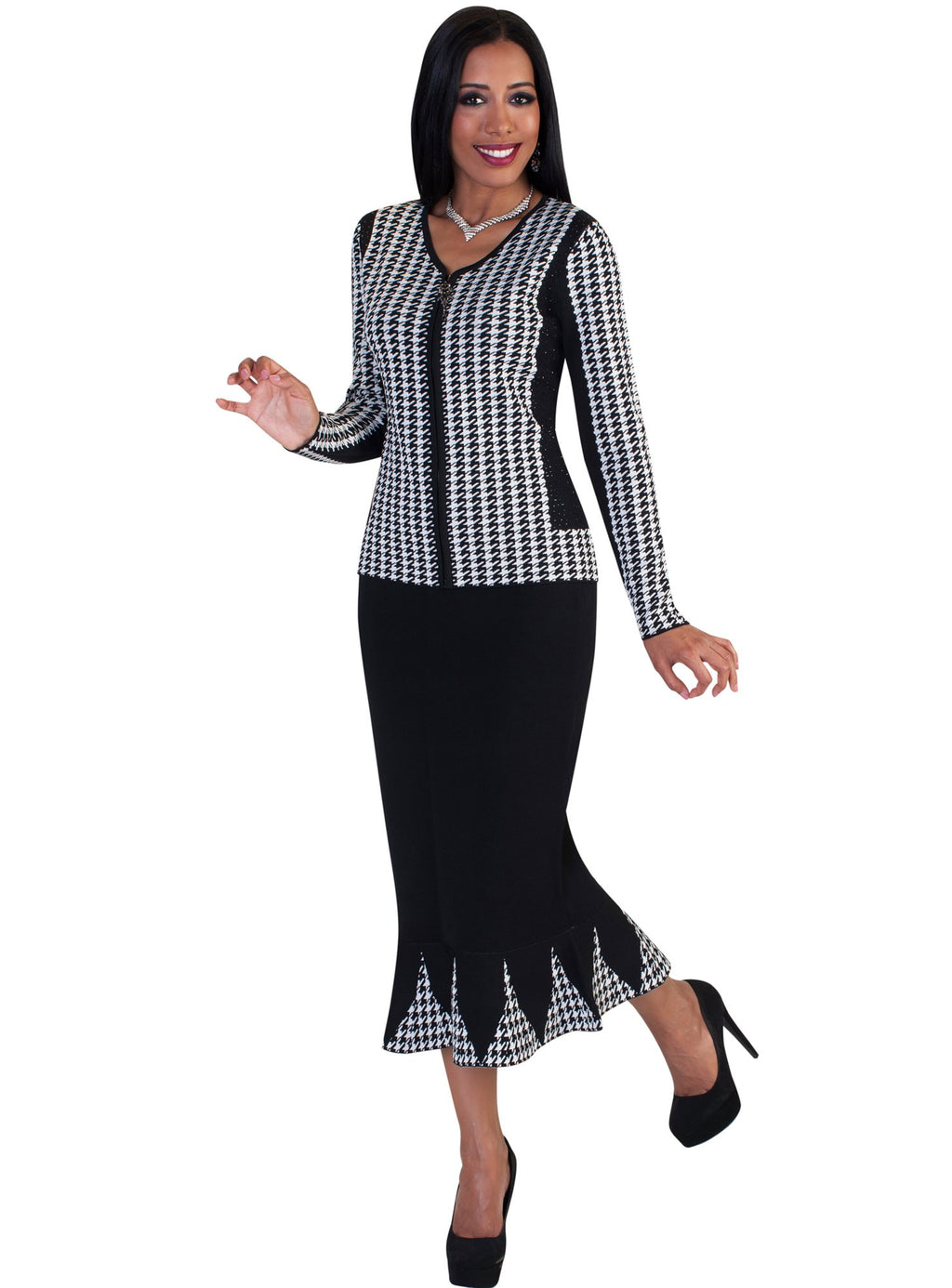 Houndstooth Knit Skirt Suit