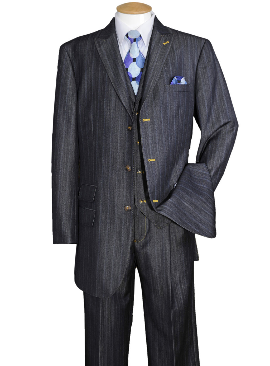 Contrast Stitch Denim Look Suit