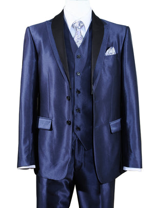 Contrast Shawl Lapel Vested Suit