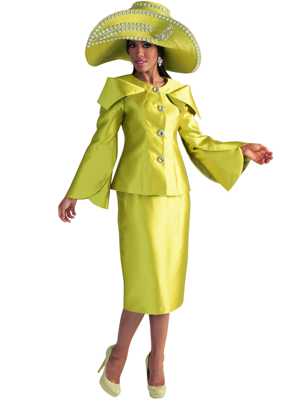 Apple Green Petal Sleeve Suit