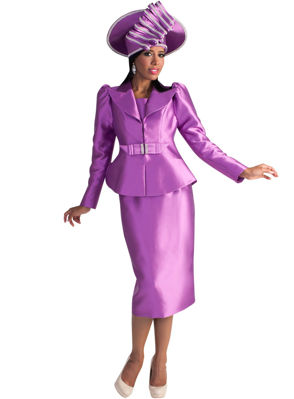 Puffed-Sleeve Dramatic Collared Suit