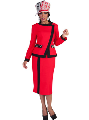 Cross-Over Contrast Trim Suit 4627