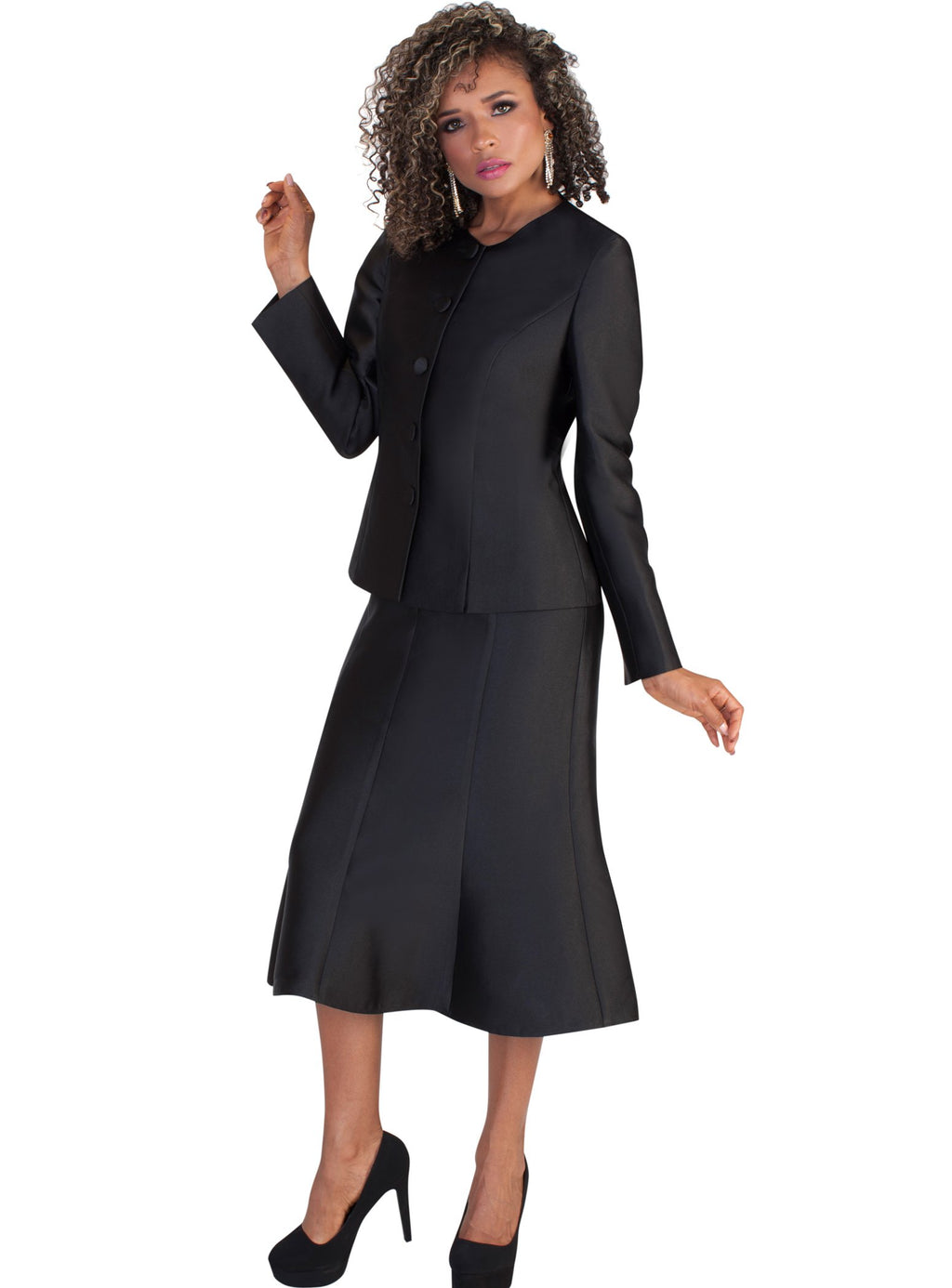 Detachable Shawl Flare Skirt Suit